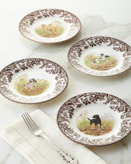 Four Assorted Woodland Hunting Dog Salad Plates