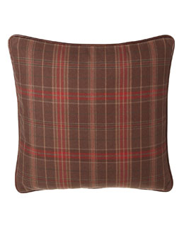French Laundry Home Lara Plaid European Sham with Leather Piping