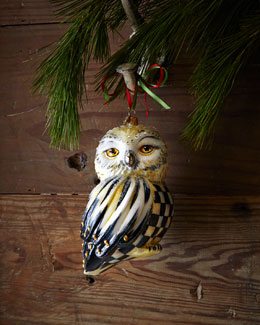 MacKenzie-Childs Courtly Check Snowy Owl Christmas Ornament