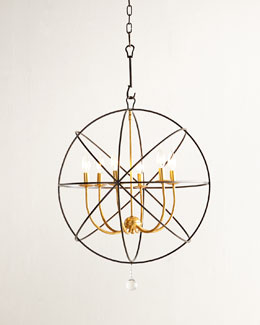 Gold Orbit Six-Light Chandelier
