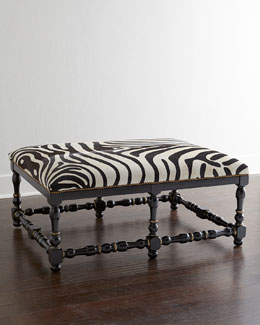 Massoud Zebra-Print Hairhide Bench