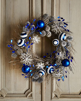 "Blue 30"" Christmas Wreath"