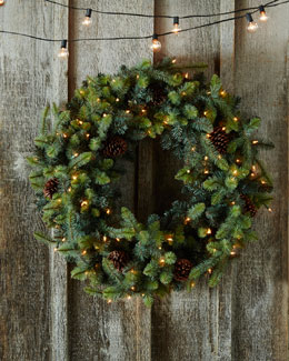 "Park Hill Collections Blue Spruce Lighted 32"" Christmas Wreath"