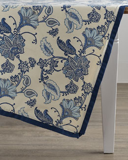 French Laundry Home Jacobean Floral Block-Print Table Topper