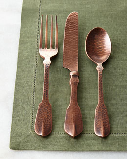 20-Piece Copper Hammered Flatware Service