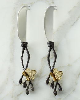 Two Gold Orchid Cheese Knives