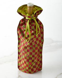 MacKenzie-Childs Orchard Check Wine Bag