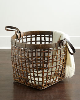 NM EXCLUSIVE Leather-Handle Rattan Basket