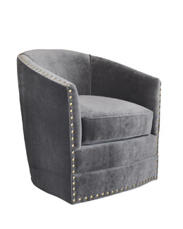 Bryn St. Clair Gray Velvet Swivel Chair