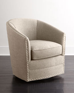 Bryn St. Clair Linen-Texture Swivel Chair