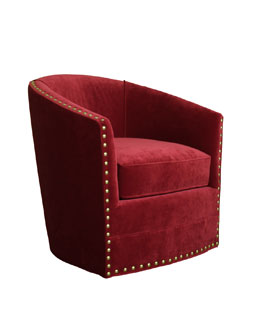 Bryn St. Clair Red Velvet Swivel Chair