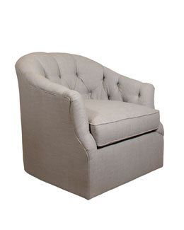 Rae St. Clair Light Gray Tweed Swivel Chair