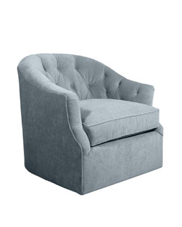 Rae St. Clair Sky Blue Velvet Swivel Chair