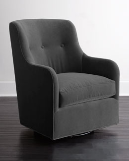 Cali St. Clair Gray Velvet Swivel Chair
