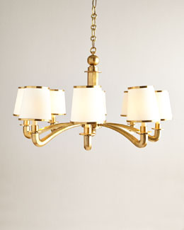 AERIN Eight-Light Brass Arm Chandelier