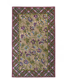 MacKenzie-Childs Plaid Bouquet Rug, 5' x 8'