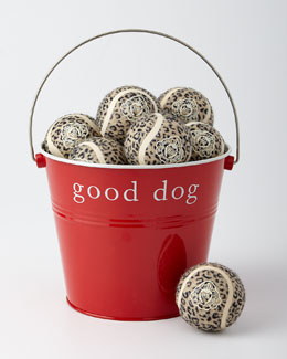 Dog Bucket with Leopard-Print Play Balls