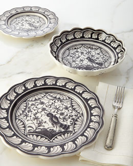 12-Piece Black & White Dinnerware Service