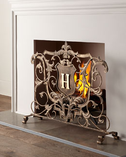 Monogrammed Fireplace Screen