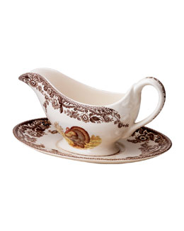 Two-Cup Woodland Turkey Gravy Boat & Stand