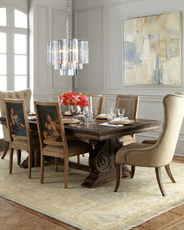 Donabella Dining Table, Donabella Tufted Chairs, & Bernadette and Bernadin Side Chairs