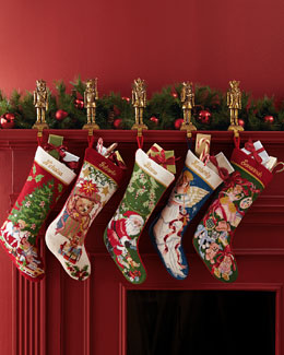 SFERRA Holiday Needlepoint Christmas Stockings