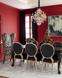 Haute House Tuscan Dining Table, Kayla Wingback Chair, & Black Linen Chairs