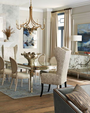 Massoud Melissa Dining Chair, Balustrade Settee, & Eliza Mirrored Dining Table