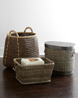 Gray-Wash Rattan Baskets