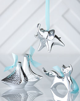 Jonathan Adler Silver-Plated Animal Christmas Ornaments