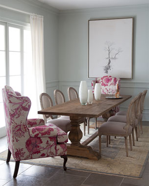 Priscilla Wing Chair, Bissett Side Chairs, & Natural Dining Table