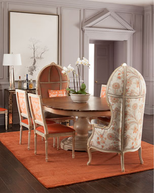Massoud Butterfly Dining Chair, Summer Garden Balloon Chair & Tabitha Round Dining Table