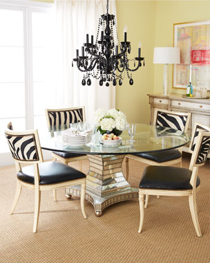 Massoud Black Zebra Leather Dining Chair & Erlinda Dining Table