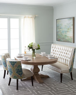 Haute House Taylor Pedestal Dining Table & Tiffany Seating
