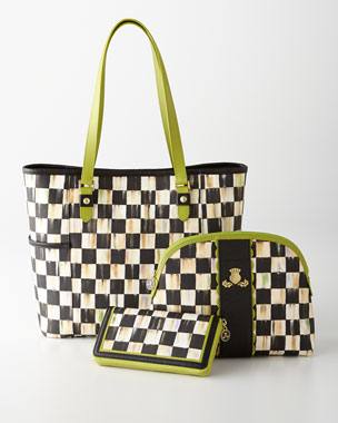 MacKenzie-Childs Courtly Check Travel Accessories with Chartreuse Trim