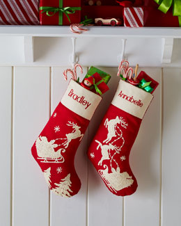 Gathered Traditions by Joe Spencer Red Santa & Sleigh Stockings