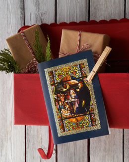 Carlson Craft Nativity Stained Glass Personalized Holiday Greeting Cards