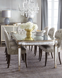 Massoud Eliza Mirrored Dining Table & Cara Dining Chair