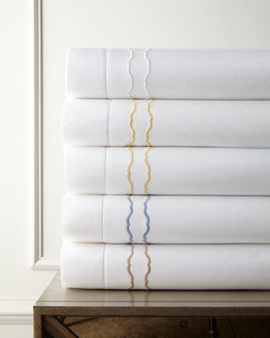 SFERRA Embroidered Percale 406TC Sheets