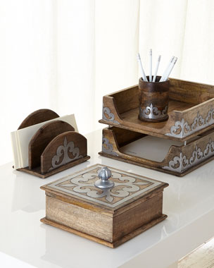 GG Collection Wood & Metal Inlay Desk Accessories