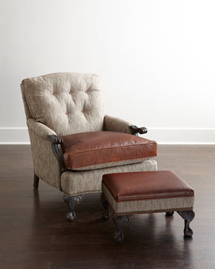 Old Hickory Tannery Beaumont Leather Chair & Ottoman