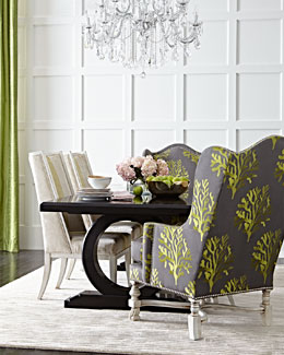 Xenia Hostess Chair, Ellis Dining Chair, & Alden Trestle Dining Table