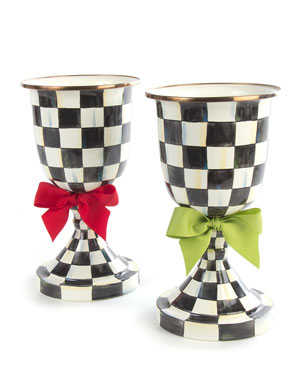 MacKenzie-Childs Courtly Check Pedestal Vases