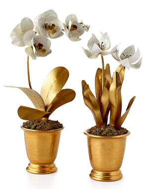 Tommy Mitchell Gilded Potted Flower Sculptures