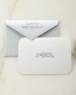 White Shimmer Personalized Cards and Envelopes