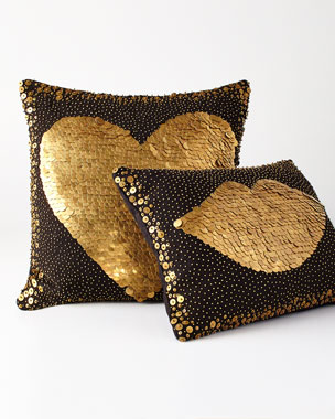 Jonathan Adler Black Lips & Heart Pillows