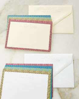 Animal-Print Border Cards with Personalized Envelopes