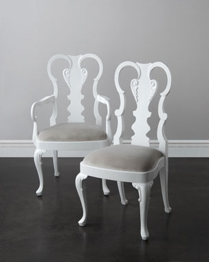 John-Richard Collection Astrid White Lacquer Dining Chairs