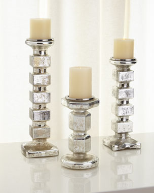 Mercury-Glass Block Candleholders