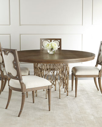 Holly Springs Dining Table & Linen Clover Side Chair